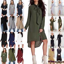 Summer Plus Lady Chiffon Dress Long Blouse Shirt Dress Casual Holiday Sundress