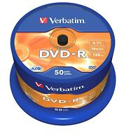 Verbatim DVD-R 4.7GB 16x Speed 120min Recordable DVD Disc Spindle Pack 50 (43548