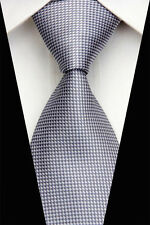 BE0432 Gray Check Man Classic JACQUARD Woven Necktie Square Patter Tie Casual.