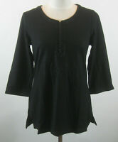 Isaac Mizrahi 3/4 Sleeve Embroidered Knit Tunic Top Black S NEW A216057