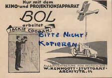 STUTTGART, Werbung 1925, W. Kenngott BOL Kino-Projektions-Apparate Jackie Coogan