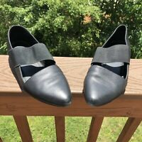 $195 Eileen Fisher Lend Washed Leather Shoes 8.5 Black Shoes Supple Flats COMFY