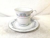 Crown Ming Fine China Windsor Tea Cup & Saucer Platinum Rim