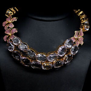 NATURAL VVS PINK UNHEATED AMETHYST & PINK SAPPHIRE NECKLACE 925 SILVER