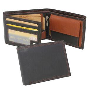 Men's Leather Wallet Purse Wallet Horizontal Format Black Braun
