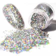 Holographic Laser Glitter Nail Art Powder Dust Silver Hexagon Sequins Manicure