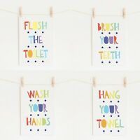 Bathroom Prints Wall Art Poster Fun Kids Bathroom Prints Home Toilet Pictures