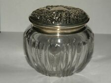 AMERICAN BRILLIANT CUT GLASS DRESSER JAR STERLING REPOUSSE LID INTERNATIONAL