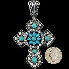 Western Cowgirl Vintage Silver Rope Rhinestone Turquoise Gemstone Cross Pendant