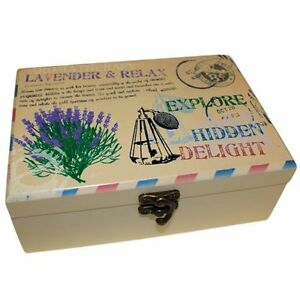 Vintage Stencilled Wooden Aromatherapy Oil Gift Box, Choose size 24 to 2 bottles
