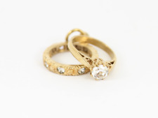 Eternity & Solitaire Ring Charm Vintage 9ct Gold 375 Charms Pendant 2.4g Dg70