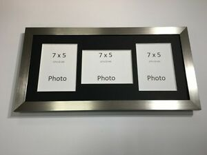 Multi App Photo Frame Silver-Holds 3 x 7''X5'' Choose from 4 mount colours