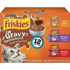 LOT OF 4 Purina Friskies Gravy Sensations Poultry Pouches. 12/3oz pouches. Dry..