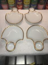 Set of (4) Anne W. Breinin White Porcelain & Gold Trim Scallop Dishes Plates