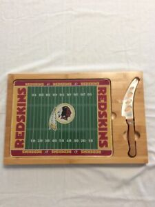 RARE NFL WASHINGTON REDSKINS LEGACY PICNIC TIME WOODEN-GLASS CUTTING BOARD-TRAY