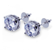 925 Sterling Silver Post ROUND Clear CZ HIP HOP SCREW BACK STUD EARRINGS 6mm