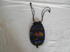 Antique Victorian micro bead drawsting purse, handbag rose design