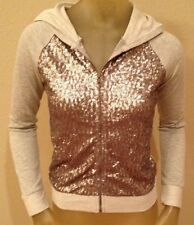 NWT delia's Gray Silver Pewter SEQUIN Hoodie Hooded Zip Jacket Juniors XS