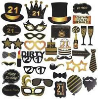 21st Birthday Photo Booth Props Funny Party Supplies Decorations 35pcs Hat Cake