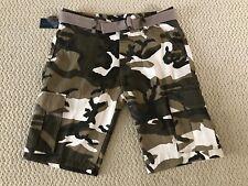 NWT Men's Swaggers Khaki Camouflage Camo Cargo Pocket Shorts w/ Belt SIZES 32-42