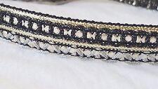 1.6cm - 2 metros Hermoso Negro Oro Y Plata De Lentejuelas Ribete de Encaje de corte Hazlo tú mismo
