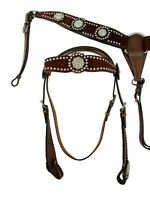 BLING SHOW BROWN HEADSTALL BREAST COLLAR HORSE WESTERN BARREL RACING TACK SET