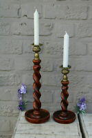 PAIR wood carved barley twist candle holders candlesticks 1970