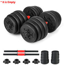 Weight Dumbbell Set Empty Rubber Adjustable Gym Barbell Plates Body Home Workout