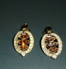 BOGOFF vtg  amber & rhinestone clip earrings
