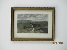 Antique engraving of hunting dogs with catch,  in vintage frame.