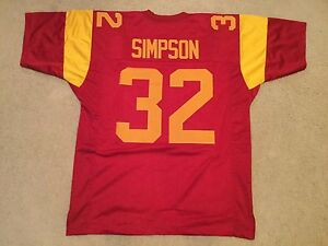 UNSIGNED CUSTOM Sewn Stitched O.J. Simpson Cardinal Color Jersey - M, L, XL, 2XL