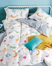 Odyssey Living Kids SINGLE Bed Cotton Printed Quilt Cover Set. Zoo Friends.