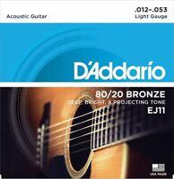 1 Set D'addario Ej11 Acoustic Guitar Strings 80/20 Bronze Light Gauge 12-53