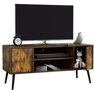 43 inch Wooden Retro Tv Stand and Entertainment Centre Rustic Brown