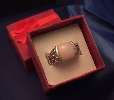 Sterling Silver SIGNED Quilted Pink MOP 7.1g - Ring 7