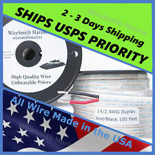 14/2 AWG Gauge Marine Tinned Copper Boat Duplex Wire Cable  Red/ Black 100 Feet