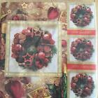 XMAS NAPKINS / SERVIETTES PAPER PACK OF 20 XMAS WREATH DESIGN 3PLY