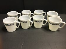 "(8) Pyrex Milk Glass ""Old Town Blue Onion"" 1410 Coffee Tea Cups Mugs D Handle"