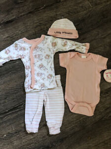 Little Princess Tiny Baby 4 Piece Cotton Outfit Pink White Rabbits