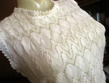 Medium True Vtg 70s Ivory Shell Knit Braided Mesh Zipback Sleeveless Acrylic Top