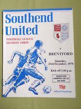 SOUTHEND UNITED vs  BRENTFORD   -  DIV 3 -  78/79