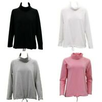 Women's Cotton Long Sleeve Turtle Neck Skivvy Top High Neck w Drawstring Hem
