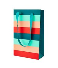 BN Accessorize Green Ribbon Handle FSC Stripy Paper Party Gift Bag 20x12x6cm