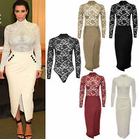 New Women Ladies Celebrity Kim Kardashian Mesh Bodysuit Skirt 2 Piece Suit Dress