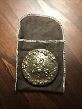 Vintage Gorham Silverplate Round Rose Repousse Purse Compact Mirror 3""