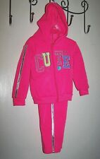 Girl's Hoodie sweatshirt Pants 2 pc Set 12M 18M Fleece NWT Pink CUTE by 2B Real
