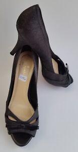 Kate Spade Womens Shoes Heels Black Sparkle Pumps Bow Peep Toe Cut Out Size 6.5B