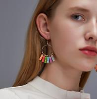 Natural Stone Earrings Women Bead Tassel Ring Ear Hook Drop Dangle Gift