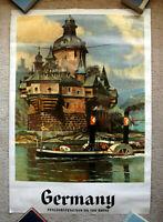 Vintage Original 1970s GERMANY Travel Poster airline railway train art tourism