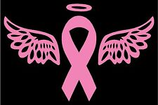 "Breast Cancer Awareness Pink Ribbon with Wings & Halo Vinyl Decal 5""H x 7""W"